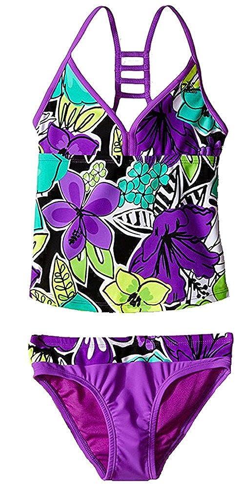 ZeroXposur Girls Hula Haku Tankini Two Piece Swimsuit