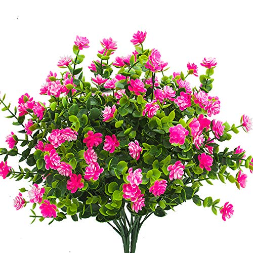 Artificial Flowers, Fake Outdoor UV Resistant Plants Faux Plastic Greenery Shrubs Indoor Outside Hanging Planter Home Kitchen Office Wedding, Garden Decor (Pink)