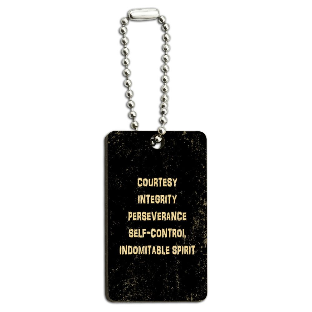 Five Tenets of Taekwondo Distressed Wood Wooden Rectangle Key Chain