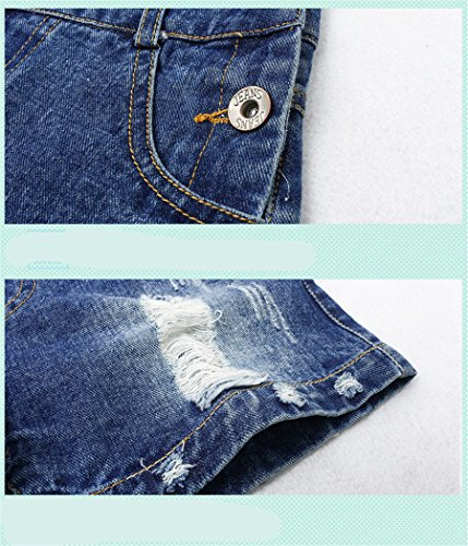Big Girl's Denim Jumpsuit Boyfriend Jeans Cool Fashion Denim Romper Shortalls 12 Blue by Luodemiss (Image #4)