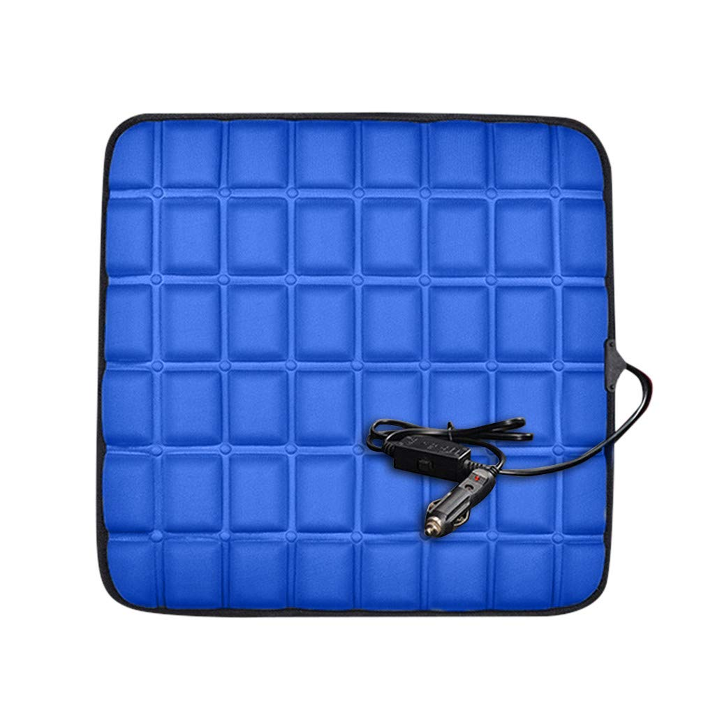 Heating Car Seat Cushion Graphene Fast-Heating Electric Warmer Memory Foam Massager Chair Pad for Office, Auto and Home (Blue)