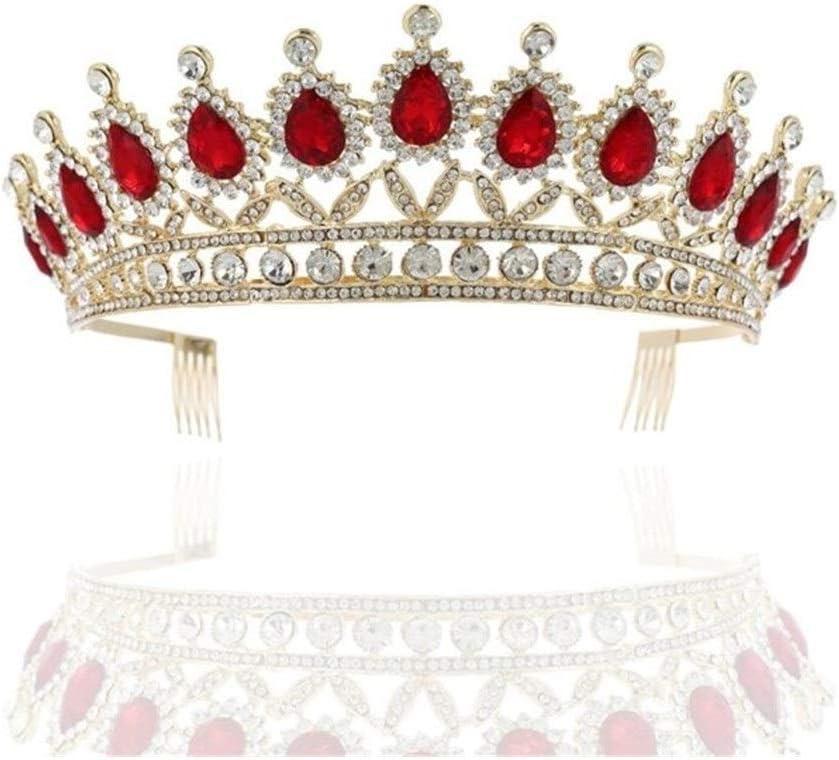 Cristalina de la Boda Crown Royal Queen Corona de la Novia con Peine Desfile con Banda de Adornos de Joyas de la Princesa Tiara Cabello Cintas para el Pelo (Metal Color : Red)