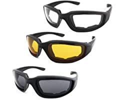 3 Pair Motorcycle Riding Glasses Padding Goggles UV Protection Dustproof Windproof Motorcycle Sunglasses with Clear Smoke Yel