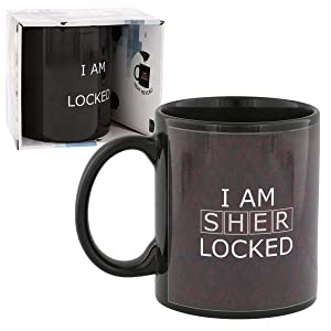 "Sherlock Holmes Mug - Ceramic Heat Reveal 10 oz Coffee Cup - Red ""I Am Sherlocked"" Design"