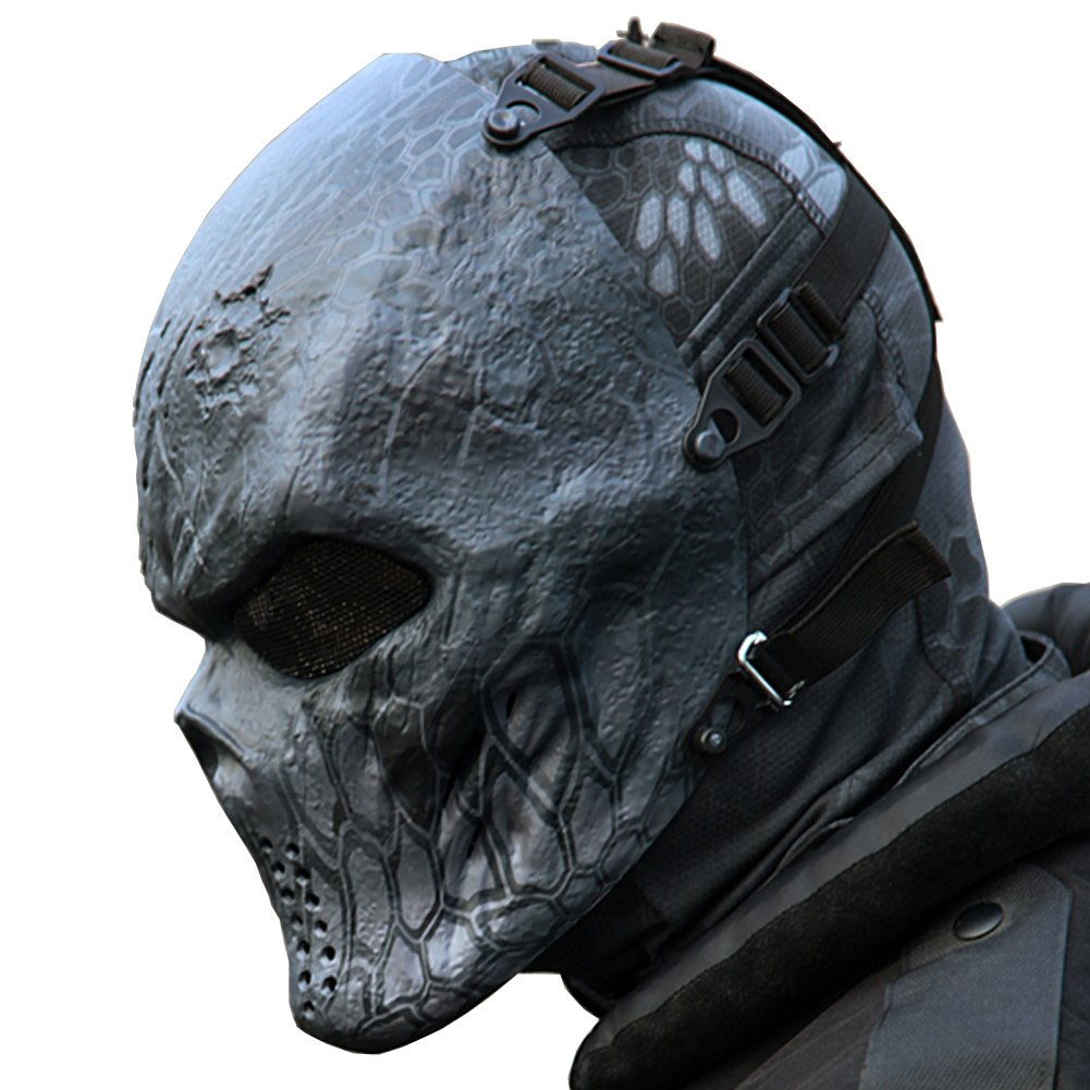 Reebow Gear Tactical Airsoft Mask Black God Full Face Skull, Masks ...