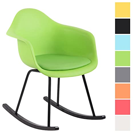 CLP Silla Mecedora Merry con Estructura de Plástico I Mecedora Relax con Cojín en Cuero Sintético I Silla Balancín Color: Verde