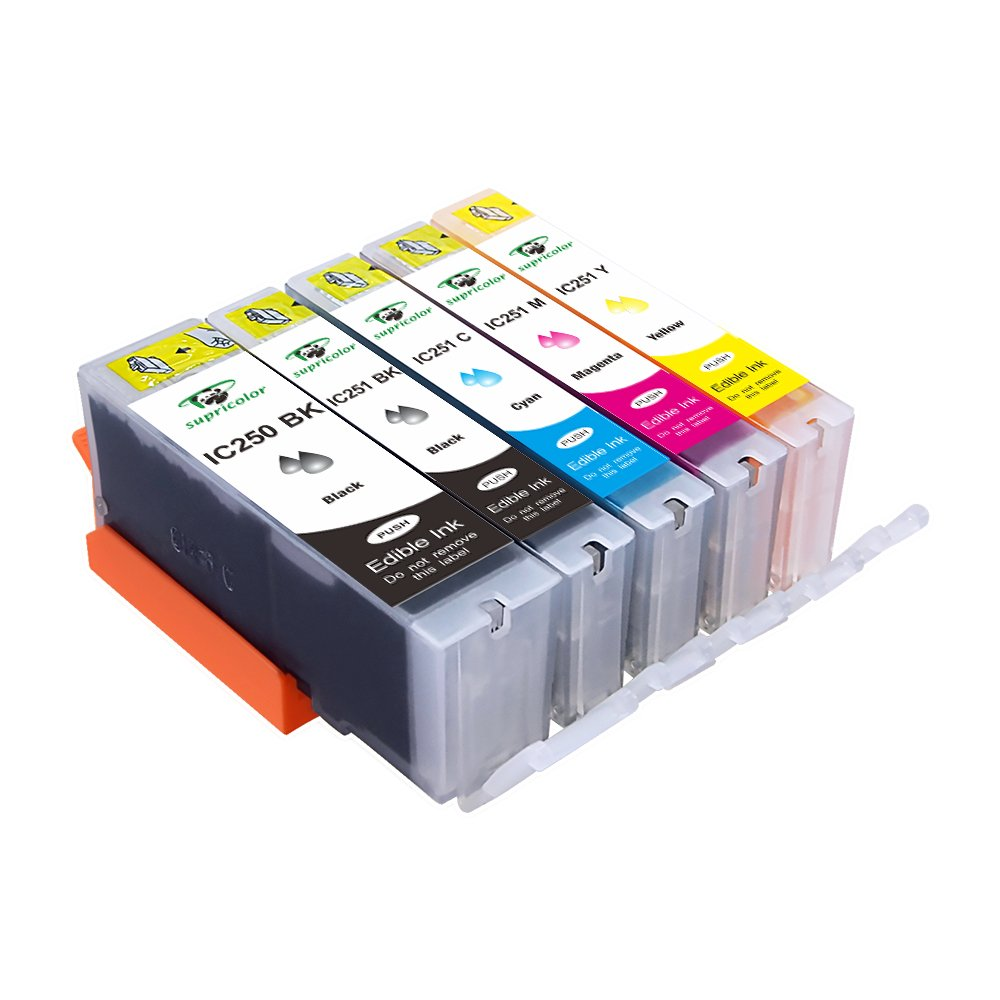 Supricolor 5 Piece Edible Ink Cartridge Replacement for PGI-250 CLI-251 for use with PIXMA iP7220, MG5420, MG5422, MG6320, MX722, MX922. Cake Printing by Supricolor