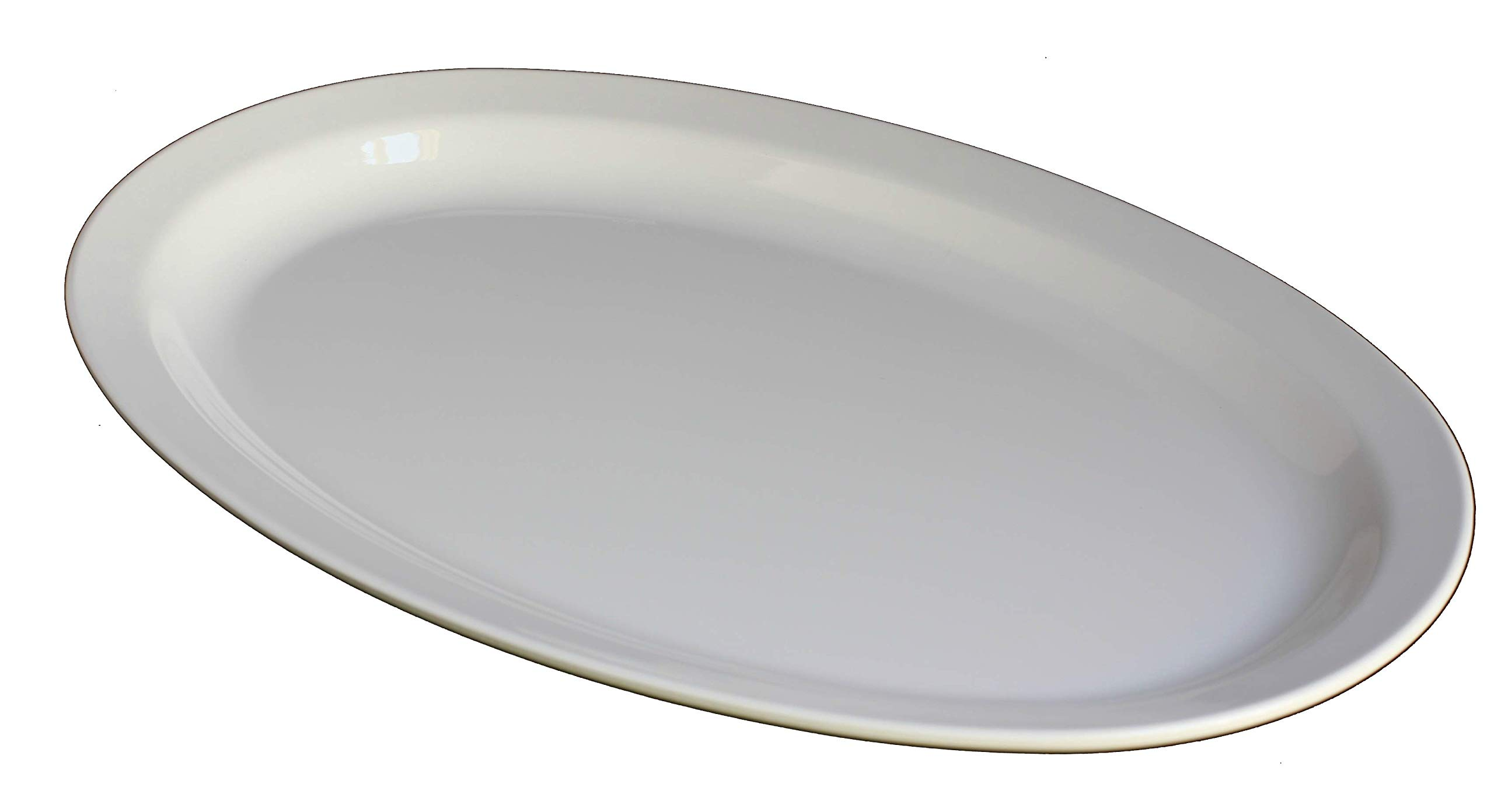 Z-Moments Western Melamine 513 Oval Plate Narrow Rim Platter 13'' X 8-1/2'', 48-pcs per case (4 dozen) NSF (White)