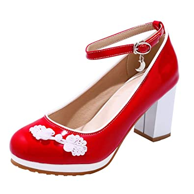 7fcb5eb1cb6 YE Chaussure Escarpins Broderie Bride Cheville Automne Femme Plateforme  Boucle Talon Haut Epais Carré Bout Rond