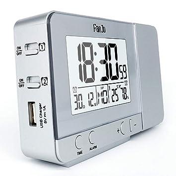 zyfun Despertador Digital Reloj Despertador Bluetooth Proyección ...