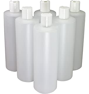 16 Oz Plastic Squeeze Bottles with Disc Top Flip Cap Set of 6 Empty by Pinnacle