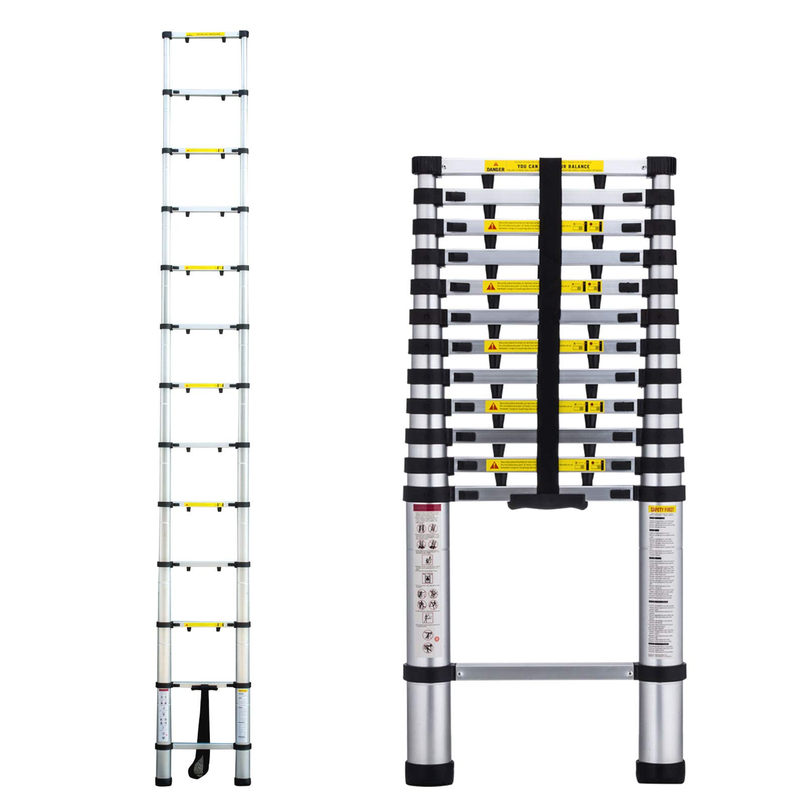 12.5FT Aluminum Telescopic Extension Ladder,EN131 Certified,Professional Heavy-Duty Foldable Telescopic Extendable Step Ladder. 330LBS Capacity