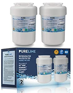 GE MWF Refrigerator Water Filter Smartwater Compatible Cartridge, Also Fits Kenmore 46-9991, MWFINT, MWFP, MWFA, GWF, HDX FMG-1, GSE25GSHECSS, WFC1201, RWF1060, 197D6321P006, By PureLine (2 Pack)