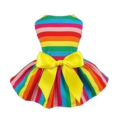Fitwarm Rainbow Pet Clothes Dog Dresses Vest Shirts Sundress