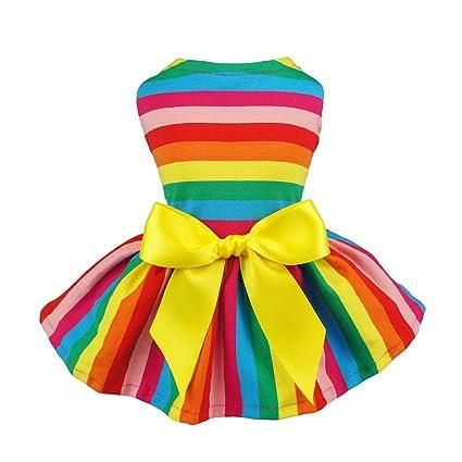 328f1e1279a Amazon.com   Fitwarm Rainbow Pet Clothes Dog Dresses Vest Shirts ...