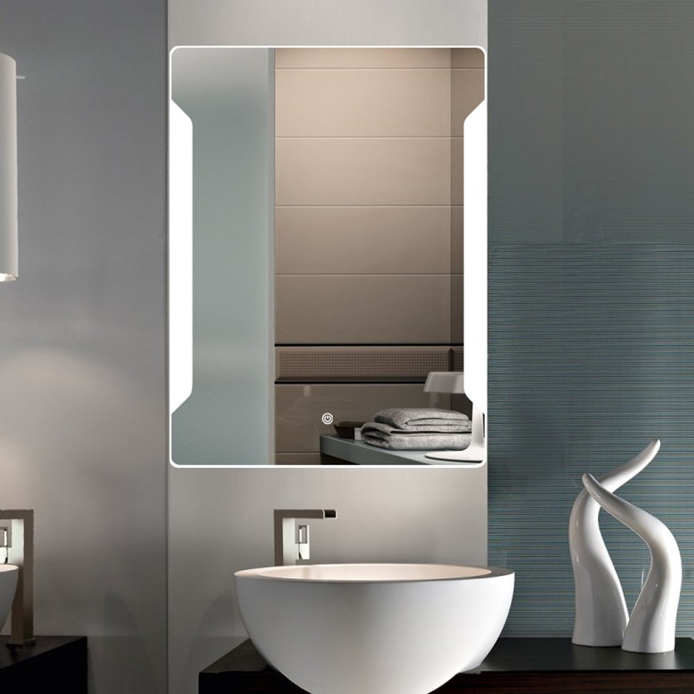 Stamo Vanity Bathroom Silvered Anti-Fog Mirror LED Lighted with Touch Button Vertical Bathroom Vanity Lighted, dimmable Lighting Mirror