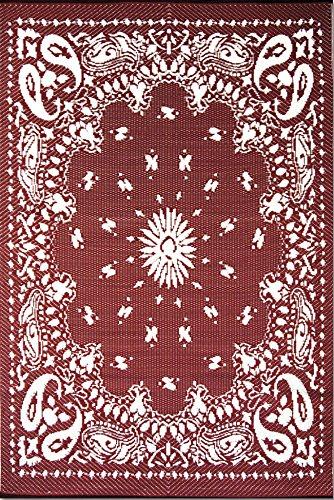 Mad Mats® Bandana Indoor/Outdoor Floor Mat, 4 by 6 Feet, Red (Rug Bandana)