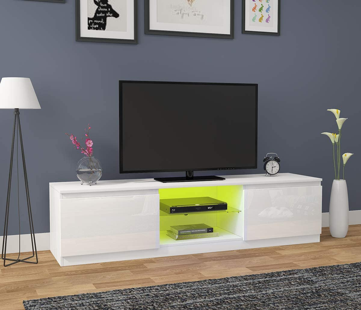 Sanmey Modern TV Stand Unit 160cm Cabinet Matt and High Gloss Free Led RGB Lights White Living Room