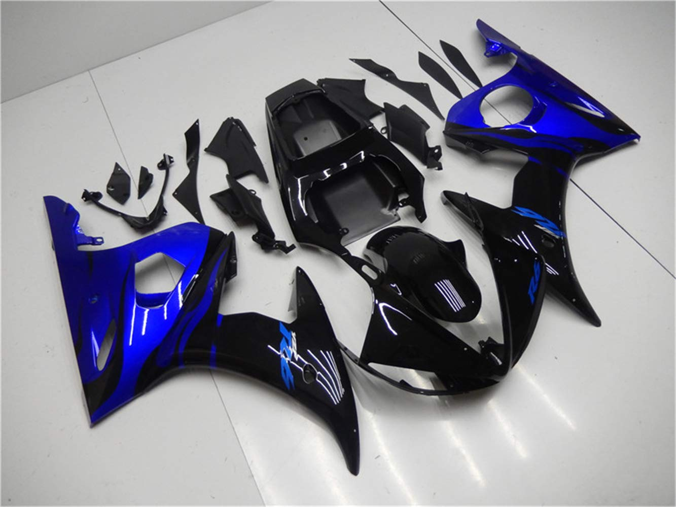 NT FAIRING Blue Black Flames Injection Mold Fairing Fit for Yamaha YZF 2003-2005 R6 /& 2006-2009 R6S New Painted Kit ABS Plastic Motorcycle Bodywork Aftermarket