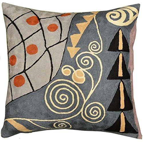 Kashmir Designs Klimt Cushion Cover Expectation Hand Embroidered 18