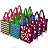 Reusable Bags Medium Tote with reinforced handles for Christmas and everyday lunch bag, shopping or party 3 designs (Pack of 12)