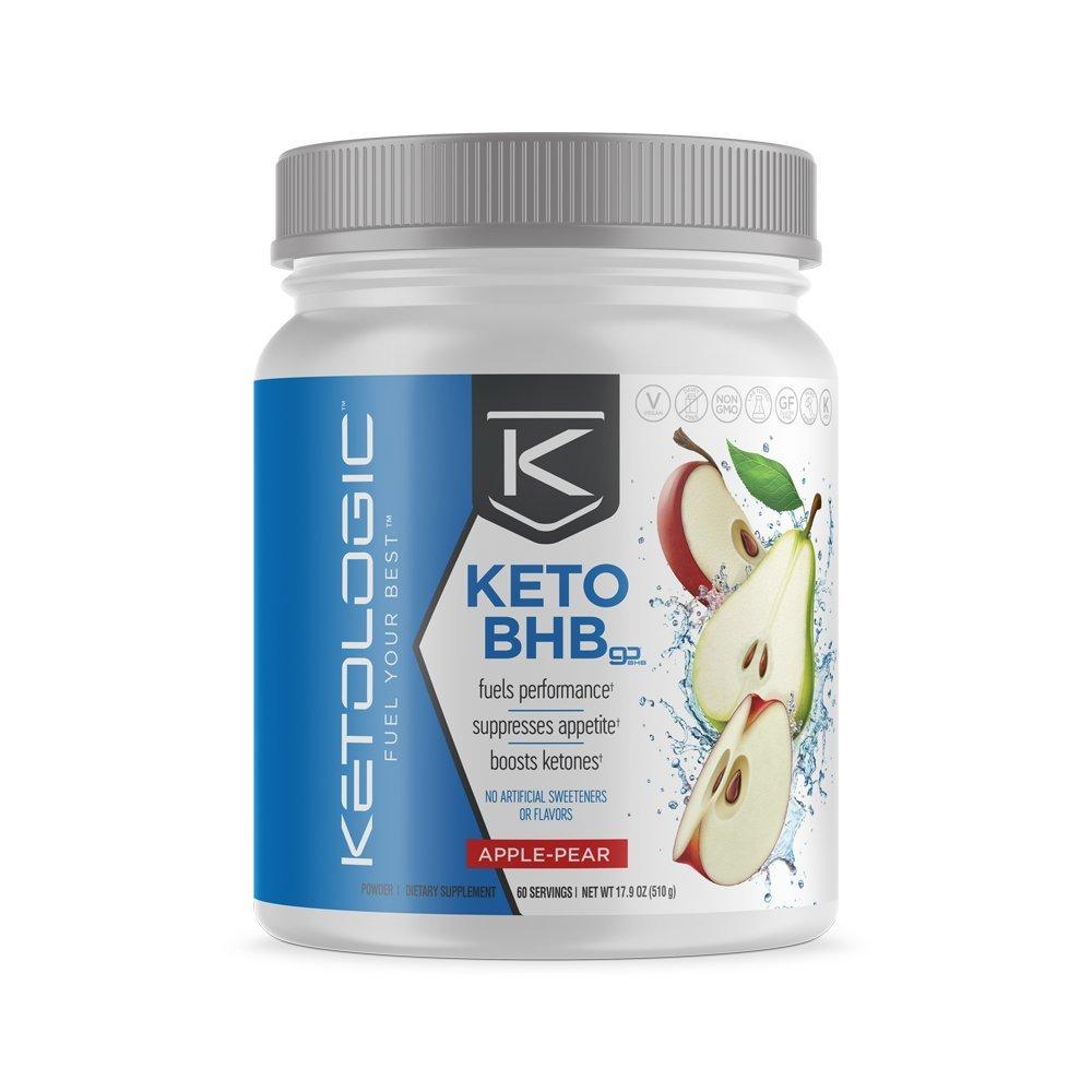 KetoLogic BHB,  Apple & Pear   Ketone Supplement, Suppresses Appetite, Increases Energy, Low Carb, Electrolytes, Beta-Hydroxybutyrate Salts   60 Servings