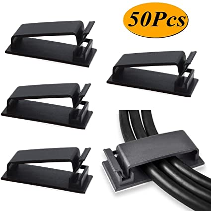 SELF-ADHESIVE WALL FLAT SCREEN TV CORD CABLE ORGANIZER CLIP WIRE MANAGEMENT SMAR