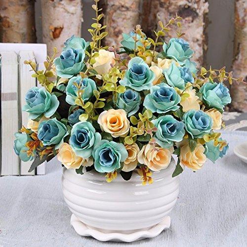 LVLIDAN Flora Artificial Flowers Home Accessories in pots arrangement Silk Set Decoration blue (Blue Pot Silk Arrangement)