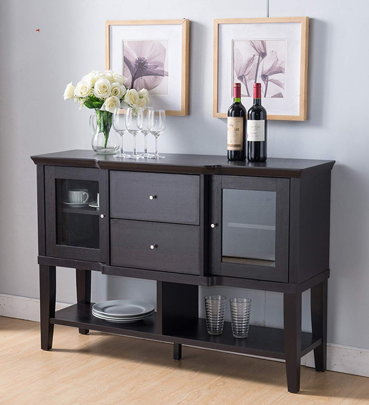 Smart Home 161641 Dining Room Sideboard Buffet in Red Cocoa