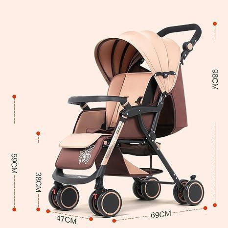 El cochecito de bebé, puede montar puede inclinarse para doblar el carro de bebé, cuatro amortiguadores carro de bebé, carro de bebé (Color : Vino rojo) : ...