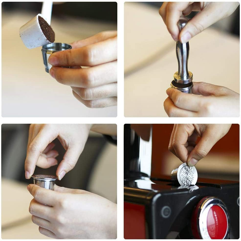 Filter-Zubeh/ör kompatibel mit Nespresso U//CitiZ//Pixie//Le Cube//Maestria//Lattissima//Inissia//Concept Four-Piece Set Edelstahl Ersatz-Kaffeekapsel nachf/üllbar Hamkaw Wiederverwendbare Kaffeekapseln