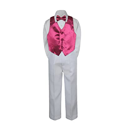Leadertux 4pc Formal Little Boys Burgundy Vest Bow Tie Set White Pants Suits S-7 (4T)