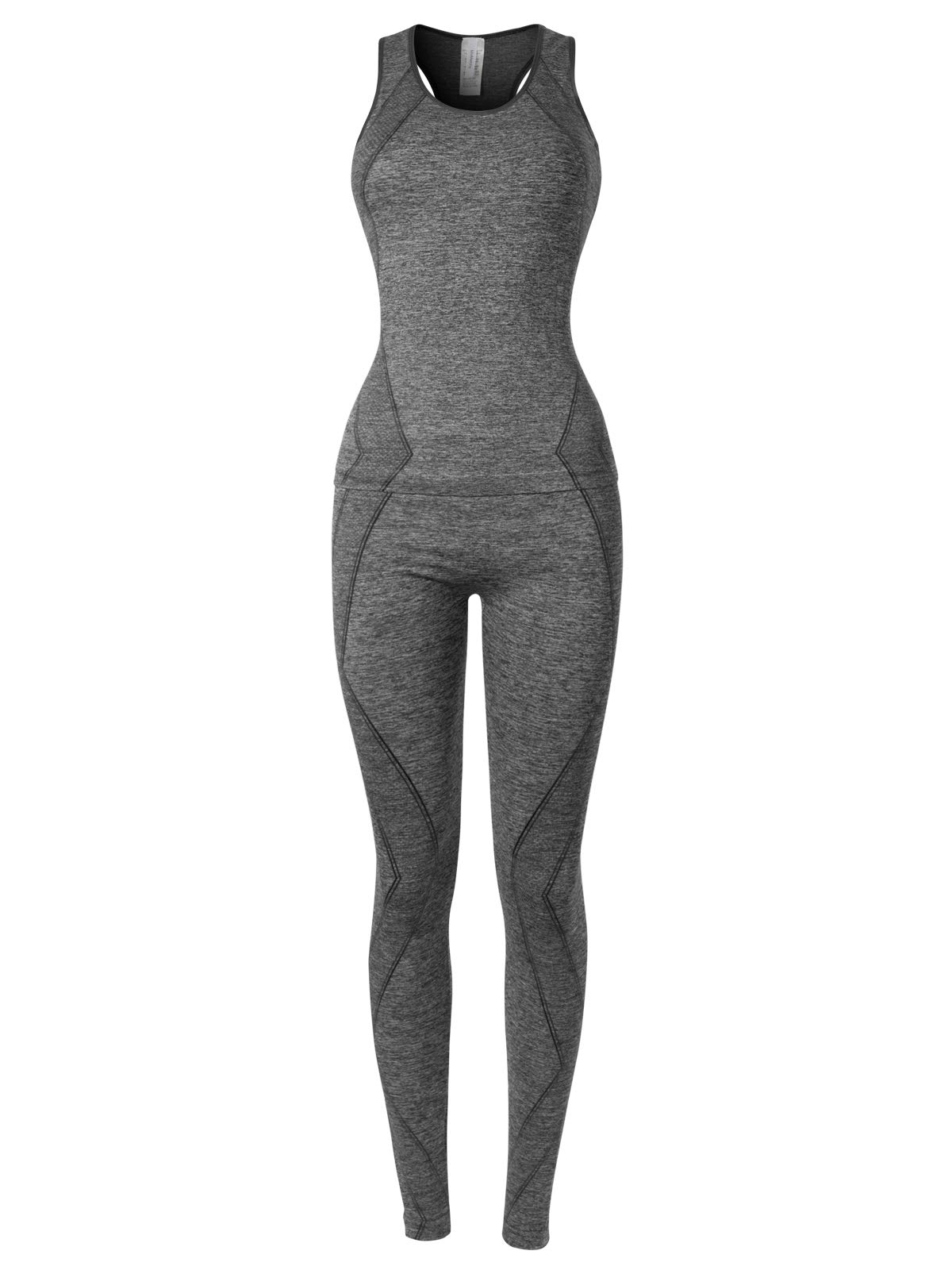 MixMatchy Women's Sports Gym Yoga Workout Activewear Sets Top & Leggings Set Grey/Black ONE by MixMatchy