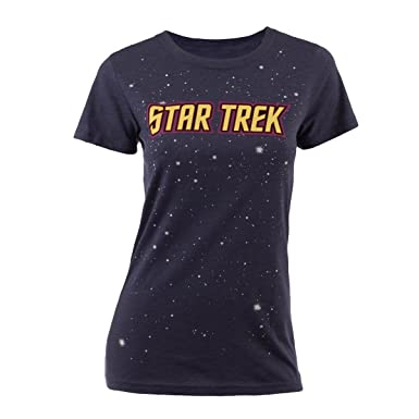 e974134f CBS Consumer Products Star Trek Women's Logo with Stars Junior Fit T-Shirt  Blue Small
