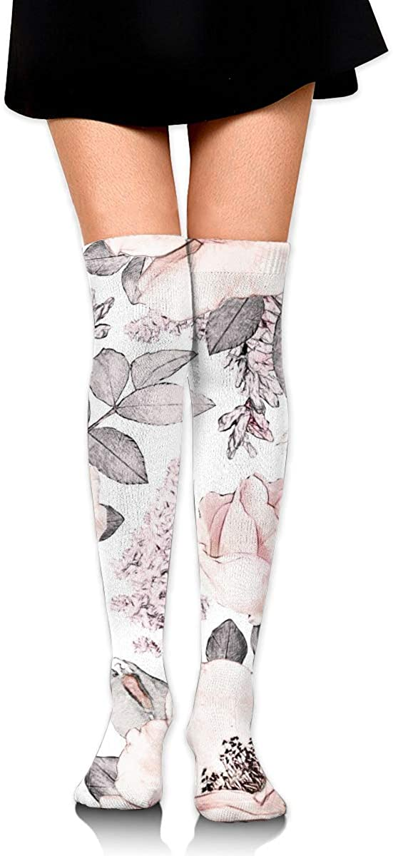 Travel Atsdes Watercolor Floral Flower Rose In Pastel Color Customized Long Over The Knee Socks For Sports 3.35 X 25.59 Cheerleading