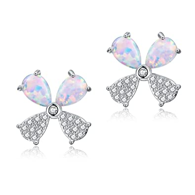 9ae710b6c OPALTOP Opal and CZ Stud Earrings Four Leaf Clover Nickel Free Jewelry  Gifts for Women Girls