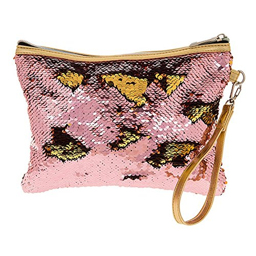 Zip Top Wristlet Sequin Magic Clutch Edging Gold in Gold Strap Bag amp; Pink 10gO80z