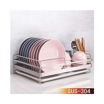 & escurreplatos de cocina 304 Acero Inoxidable Dish Rack ...