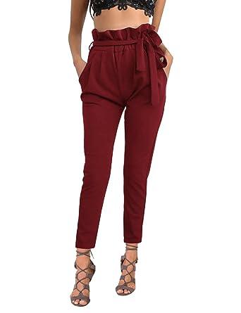 f73dd0f4d70c4 ISASSY Pantalons Femme Skinny Taille Haute Stretch Slim Crayon Pantalon  avec Ceinture Vin Rouge XL(