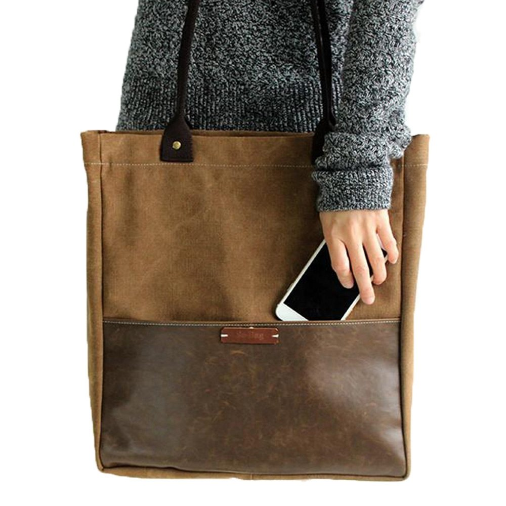 Coffee Fantasylinen Handcrafted Canvas and Leather Casual Tote Bag Shopper Bag Handbag