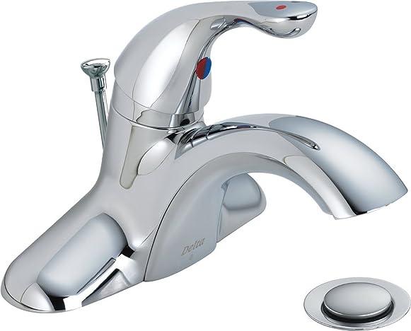Delta Commercial 520LF-HDFWW Classic Single Handle Centerset Bathroom Faucet, Chrome
