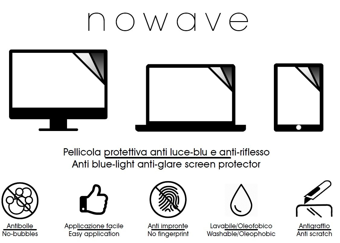NOWAVE Pellicola protettiva opaca anti luce blu per monitor PC/LAPTOP/PORTATILI screen16919