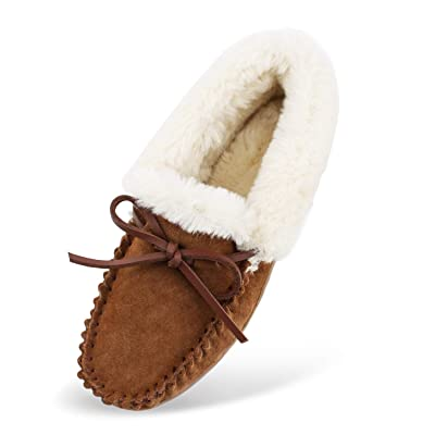 Hoswo Women's Slippers, Moccasins Slip on Sheepskin Slippers for Woman Memory Foam Breathable Anti Slip Ourdoor Indoor House Shoes with Fuzzy Plush Faux Fur Lining | Slippers