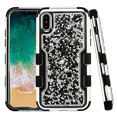 iPhone X Case, Mybat Tuff Dual Layer [Shock Absorbing] Protection Hybrid Rhinestone Diamond Bling PC/TPU Rubber Case Cover For Apple iPhone X, Silver/Black