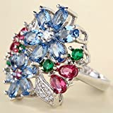 925 Silver Multi-Color Sapphire Ruby Emerald Flower Ring Wedding Women Jewelry (9)