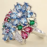 925 Silver Multi-Color Sapphire Ruby Emerald Flower Ring Wedding Women Jewelry (8)