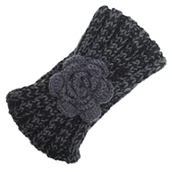 Bzline Women Winter Warm Knitted Wool Headband Flower Pattern Hair