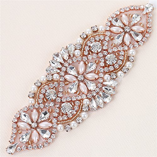 XINFANGXIU Rose Gold Small Beaded Crystal Decorative Patch Rhinestone  Applique with Beaded Pearls Embellishments Sew Iron on Hot Fix for Bridal  Wedding ... 5027f599ac93