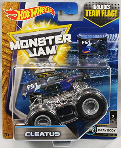 Cleatus Fox (2017 Hot Wheels Monster Jam 1:64 Scale Truck with Team Flag - Cleatus FS1)