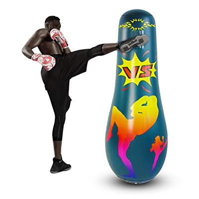 Nice2you Adults Punching Bag Free Standing Kick Boxing Hit Bounce Back Air Target Inflatable Toy Practicing Karate Taekwondo Relieve for Exercise Stress Relief: Sports & Outdoors
